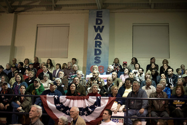 January 24, 2008. Seneca, SC.. Presidential candidate and former US senator, John Edwards campaigned across the western part of South Carolina today in an effort to shore up support before Saturday's primary election.. Edwards gave a rally at the gym of Gignillat Community Center for approx. 650 supporters.