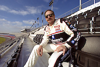 Dale Earnhardt tries out the freshly opened Earnhardt Grandstand at Daytona International Speedway a few weeks before his death.  Daytona Beach, FL, January 2001.  (Photo by Brian Cleary/www.bcpix.com)