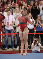 Arkansas' Kiara Gianfagna competes Friday, Feb. 7, 2020, in the floor portion of the Razorbacks' meet with Georgia in Barnhill Arena in Fayetteville. Visit  nwaonline.com/gymbacks/ for a gallery from the meet.<br /> (NWA Democrat-Gazette/Andy Shupe)