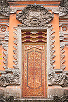 Ubud, Bali, Indonesia; intricate doors inside the Balinese Hindu temple, Pura Taman Saraswati