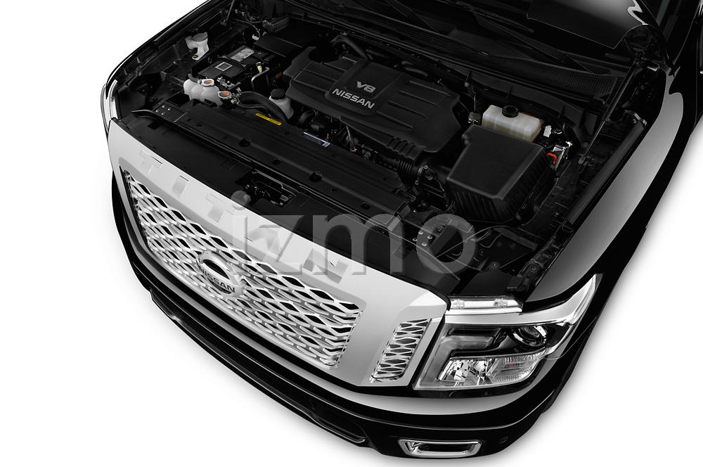 Car Stock 2017 Nissan Titan Platinum-Reserve-Crew 4 Door Pickup Engine  high angle detail view