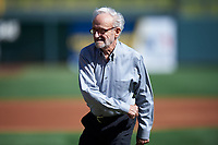 "Roland Hemond, the ""Architect of the Arizona Fall League"", throws out the first pitch before the Arizona Fall League Championship Game between the Salt River Rafters and Surprise Saguaros on October 26, 2019 at Salt River Fields at Talking Stick in Scottsdale, Arizona. The Rafters defeated the Saguaros 5-1. (Zachary Lucy/Four Seam Images)"