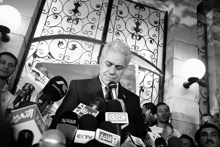 Egypt/ Cairo / 26.5.2012. / Eliminated presidential candidate Hamdeen Sabahi gives a press conference at his headquarters in Cairo. May 26th, 2012. Cairo, Egypt.<br /> <br /> © Giulia Marchi