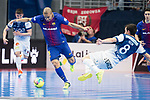 Barcelona Lassa Leonardo Santana da Silva and R. Renov. Zaragoza Ricardo Felipe during Futsal Spanish Cup 2018 at Wizink Center in Madrid , Spain. March 16, 2018. (ALTERPHOTOS/Borja B.Hojas)