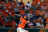 Right fielder Seth Beer (28) of the Clemson Tigers waits in the on deck circle in a game against the William and Mary Tribe on February 16, 2018, at Doug Kingsmore Stadium in Clemson, South Carolina. Clemson won, 5-4 in 10 innings. (Tom Priddy/Four Seam Images)