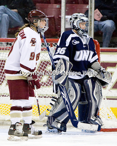 Allie Thunstrom (Boston College - 9), Lindsey Minton (UNH - 36) - The University of New Hampshire Wildcats defeated the Boston College Eagles 5-2 on Friday, January 30, 2009, at Conte Forum in Chestnut Hill, Massachusetts.