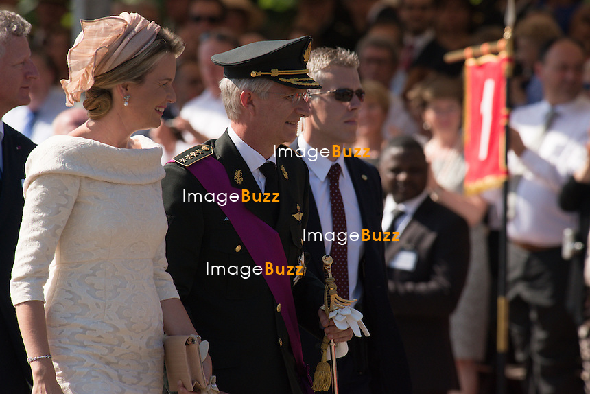 BRUSSELS, BELGIUM:The Royal family attends the civil and military parade. July 21, 2013<br /> Pictured: King Philippe, Queen Mathilde.