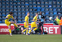Josh Windass of Accrington Stanley with the free-kick that led to the goal during the Sky Bet League 2 match between Wycombe Wanderers and Accrington Stanley at Adams Park, High Wycombe, England on the 30th April 2016. Photo by Liam McAvoy / PRiME Media Images.