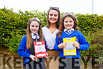 CBS NS students Rowan Moore and Amelia Kuuvic with their teacher Siobhan Ryle at the Scríobh Leabhar competition held in the Tralee Education Centre on Monday.