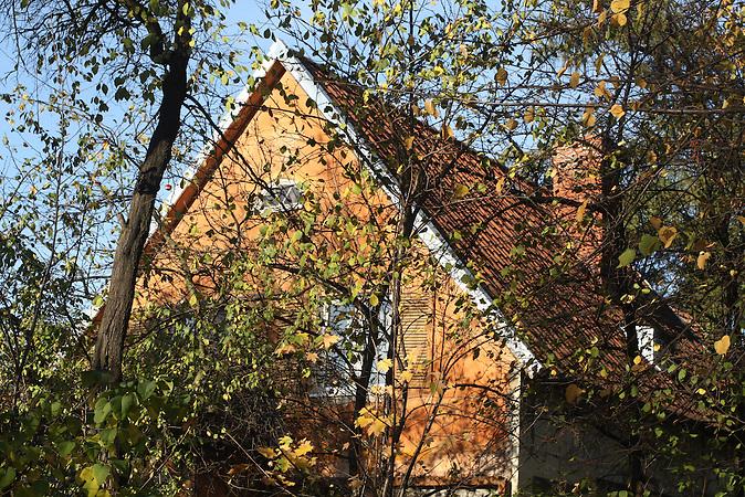 Im Herbst geben die Bäume den Blick frei auf Häuser und Gärten.. Amalien eine Stadtteil im alten Königsberg, heute Kaliningrad.