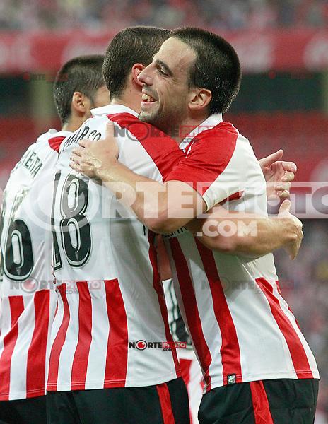 Athletic Club de Bilbao's Oscar de Marcos (l) and Benat Etxebarria celebrate goal during Europa League Third Qualifying Round, 2nd leg. April 5,2012. (ALTERPHOTOS/Acero) /NortePhoto.com