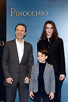 Roberto Benigni as Mister Geppetto, Marine Vacth as The Fairy with Turquoise Hair and Federico Ielapi as Pinocchio <br /> Rome December 12th 2019. Pinocchio Photocall in Rome<br /> Foto Samantha Zucchi Insidefoto