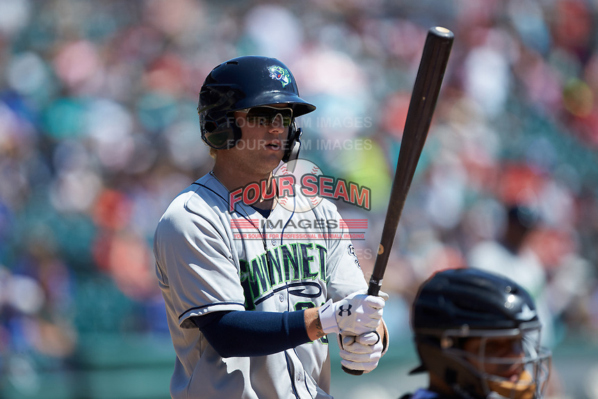Dustin Peterson (28) of the Gwinnett Stripers steps up to the plate during the game against the Charlotte Knights at BB&T BallPark on May 2, 2018 in Charlotte, North Carolina.  The Knights defeated the Stripers 6-5.  (Brian Westerholt/Four Seam Images)