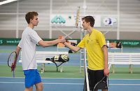 Rotterdam, The Netherlands, 15.03.2014. NOJK 14 and 18 years ,National Indoor Juniors Championships of 2014, Niels Kok (NED) congratulates Gijs Brouwer(R) with his win.<br /> Photo:Tennisimages/Henk Koster