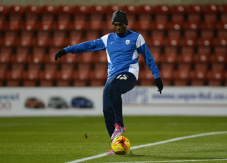 Preston North End's Kyel Reid during the pre-match warm-up <br /> <br /> Photographer Ian Cook/CameraSport<br /> <br /> Football - The Football League Sky Bet League One - Swindon Town v Preston North End - Tuesday 4th November 2014 - County Ground - Swindon<br /> <br /> &copy; CameraSport - 43 Linden Ave. Countesthorpe. Leicester. England. LE8 5PG - Tel: +44 (0) 116 277 4147 - admin@camerasport.com - www.camerasport.com