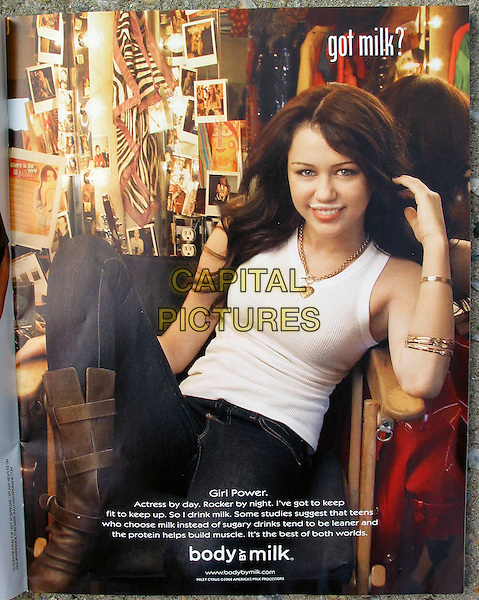 "MILEY CYRUS.as she appears in the famous ""Got Milk?"" advertisement, New York, NY, USA, 23rd June 2008..print advert magazine ad .CAP/LNC.Supplied by LNC/Capital Pictures"