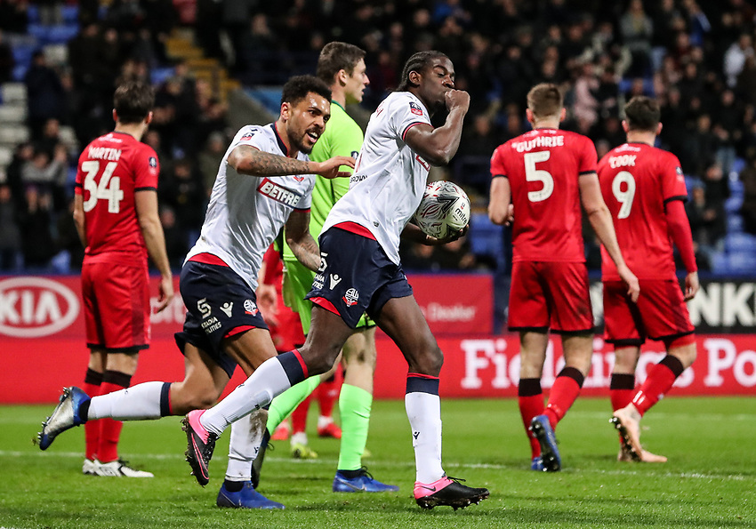 Bolton Wanderers' Clayton Donaldson celebrates scoring his side's first goal as team mate Josh Magennis looks on<br /> <br /> Photographer Andrew Kearns/CameraSport<br /> <br /> Emirates FA Cup Third Round - Bolton Wanderers v Walsall - Saturday 5th January 2019 - University of Bolton Stadium - Bolton<br />  <br /> World Copyright © 2019 CameraSport. All rights reserved. 43 Linden Ave. Countesthorpe. Leicester. England. LE8 5PG - Tel: +44 (0) 116 277 4147 - admin@camerasport.com - www.camerasport.com