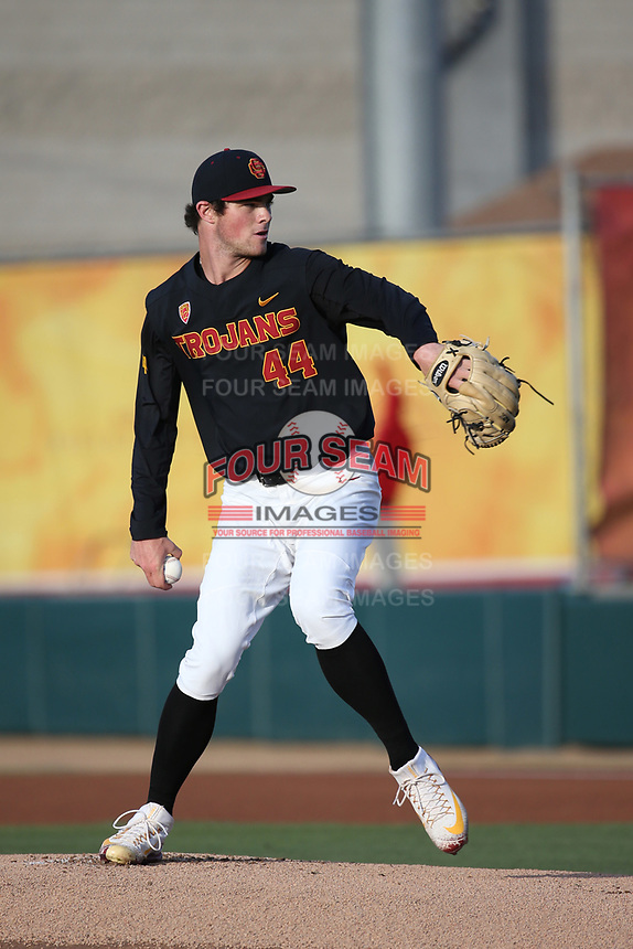 Chris Clarke (44) of the Southern California Trojans pitches against the Arizona State Sun Devils at Dedeaux Field on March 24, 2017 in Los Angeles, California. Southern California defeated Arizona State, 5-4. (Larry Goren/Four Seam Images)