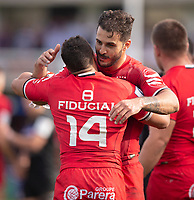 Toulouse Rugby's Sofiane Guitoune celebrates with Toulouse Rugby's Cheslin Kolbe<br /> <br /> Photographer Bob Bradford/CameraSport<br /> <br /> European Rugby Champions Cup - Bath Rugby v Toulouse - Saturday 13th October 2018 - The Recreation Ground - Bath<br /> <br /> World Copyright &copy; 2018 CameraSport. All rights reserved. 43 Linden Ave. Countesthorpe. Leicester. England. LE8 5PG - Tel: +44 (0) 116 277 4147 - admin@camerasport.com - www.camerasport.com