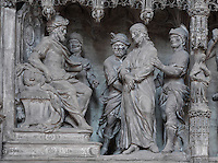 Jesus, guarded by 2 soldiers, before Pontius Pilate, by Simon Mazieres, 1713-16, from the choir screen, Chartres Cathedral, Eure-et-Loir, France. Chartres cathedral was built 1194-1250 and is a fine example of Gothic architecture. It was declared a UNESCO World Heritage Site in 1979. Picture by Manuel Cohen.