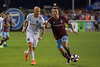 SAN JOSÉ CA - JULY 27: Magnus Eriksson #7, Andre Shinyashiki #99 during a Major League Soccer (MLS) match between the San Jose Earthquakes and the Colorado Rapids on July 27, 2019 at Avaya Stadium in San José, California.