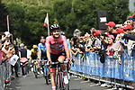 Maglia Rosa Jan Polanc (SLO) UAE Team Emirates arrives at sign on before the start of Stage 13 of the 2019 Giro d'Italia, running 196km from Pinerolo to Ceresole Reale (Lago Serrù), Italy. 24th May 2019<br /> Picture: Fabio Ferrari/LaPresse | Cyclefile<br /> <br /> All photos usage must carry mandatory copyright credit (© Cyclefile | Fabio Ferrari/LaPresse)