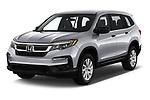 2020 Honda Pilot LX 5 Door SUV angular front stock photos of front three quarter view