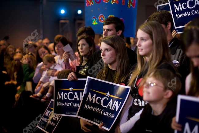 "Senator John McCain (R-AZ), potential Republican presidential candidate, and his wife, Cindy, attend a campaign rally packed with supporters in a push for ""Super Tuesday"" votes. Birmingham, Alabama, February 2, 2008."