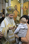 Israel, Acco, Greek Orthodox Patriarch Theophilus III at the Church of St. George on St. George's Day