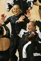 15 January 2006: Natalie Foley and Alex Pintchouk during Stanford's gymnastics meet at Maples Pavilion in Stanford, CA.