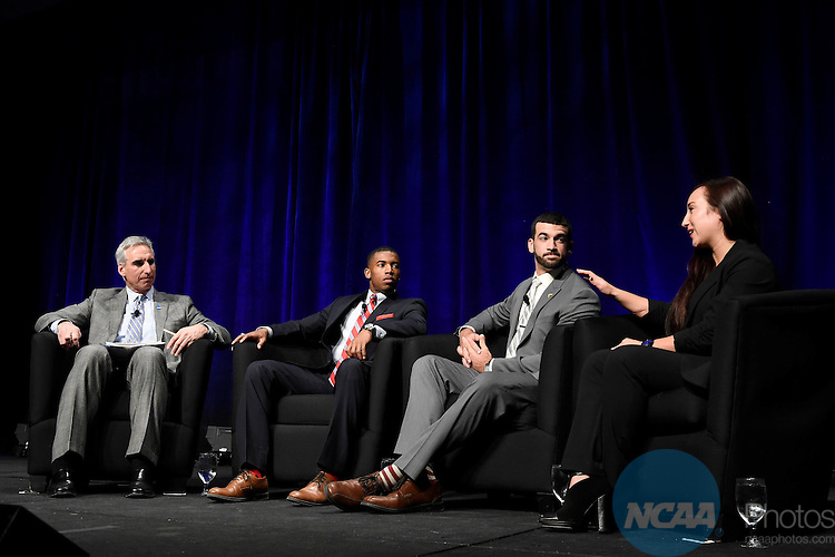 15 JAN 2015: The NCAA Keynote Luncheon takes place at the 2015 NCAA Convention held at the Gaylord National Resort and Convention Center in National Harbor, MD. Justin Tafoya/NCAA Photos (Pictured: Oliver Luck, Kendall Spencer, Roberto Baroniel, Chelsea Shoemaker)