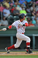 Shortstop Jeremy Rivera (35) of the Greenville Drive bats in a game against the Augusta GreenJackets on Thursday, June 9, 2016, at Fluor Field at the West End in Greenville, South Carolina. Augusta won, 8-2. (Tom Priddy/Four Seam Images)