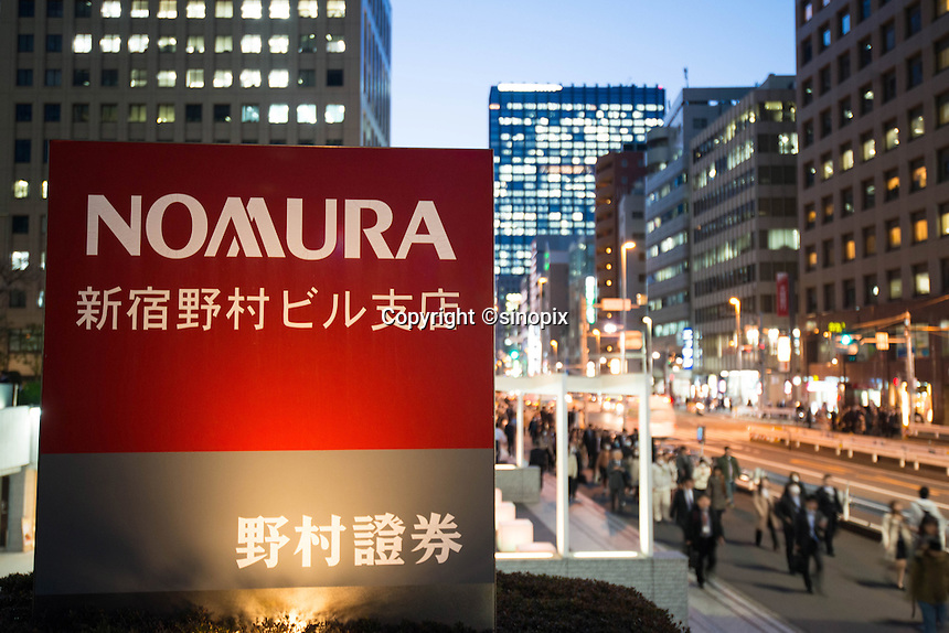 Nomura Securities  in  Shinjuku business district, Tokyo Japan