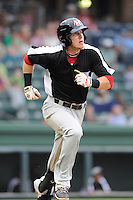 Infielder Ryan Rua (2) of the Hickory Crawdads in a game against the Greenville Drive on Sunday, June 9, 2013, at Fluor Field at the West End in Greenville, South Carolina. Hickory won, 6-3. (Tom Priddy/Four Seam Images)