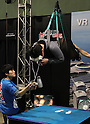"April 30, 2016, Chiba, Japan - A visitor, hanged in the air by wire, enjoys virtual sky diving with headmount during the Niconico Chokaigi in Chiba on Saturday, April 30, 2016. Some 150,000 visitors enjoyed over 100 booths including games, hobbies, sports, politics as well as Japan's sub cultures at the two-day offline meeting sponsored by Japan's video sharing website ""Niconico Douga"".  (Photo by Yoshio Tsunoda/AFLO) LWX -ytd-"