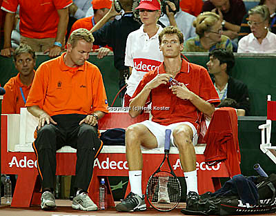 20030919, Zwolle, Davis Cup, NL-India, The Dutch Bench with Coach Tjerk Bogtstra and Sjeng Schalken