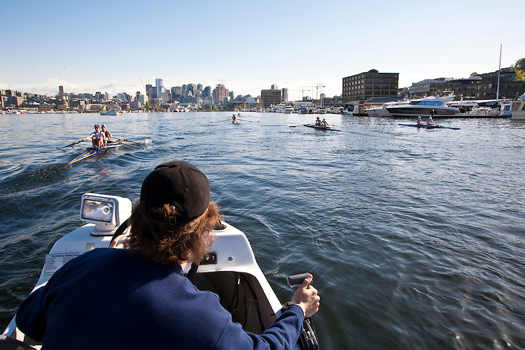 Rowing, Seattle, Seattle Rowing Center, rowing schools, Coach Harrison Shure coaching middle school, high school rowers, workout, Lake Union, Seattle skyline,