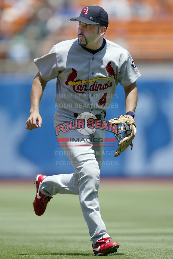Fernando Vina of the St. Louis Cardinals during a 2002 MLB season game against the Los Angeles Dodgers at Dodger Stadium, in Los Angeles, California. (Larry Goren/Four Seam Images)