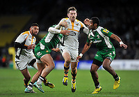 Elliot Daly of Wasps takes on the London Irish defence. Aviva Premiership match, between London Irish and Wasps on November 28, 2015 at Twickenham Stadium in London, England. Photo by: Patrick Khachfe / JMP