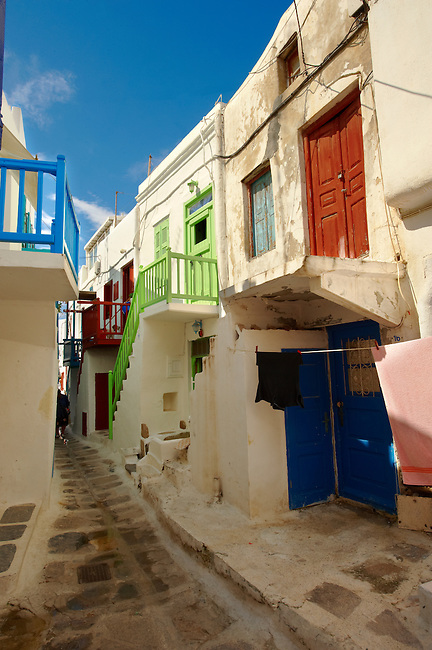 The narrow lanes with colourful houses of Mykonos Chora, Cyclades Island, Greece