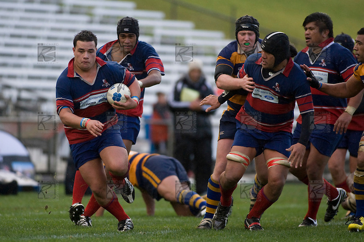 Sulasi Taufalele charges upfield. CMRFU Counties Power 2008 Club rugby McNamara Cup Premier final between Ardmore Marist & Patumahoe played at Growers Stadium, Pukekohe on July 26th.  Ardmore Marist won 9 - 8.