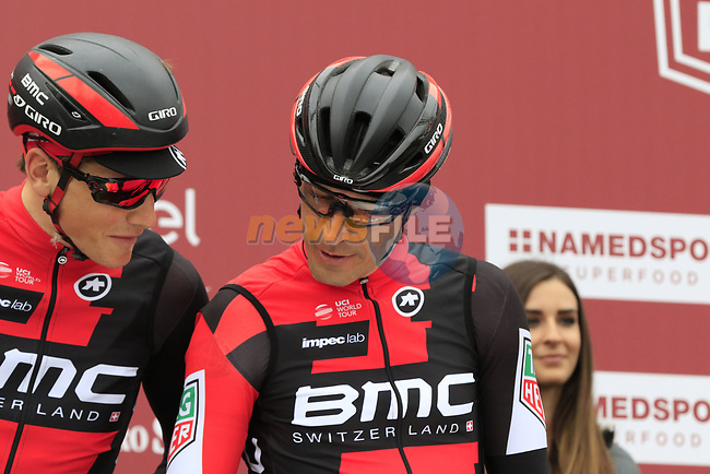 Manuel Quinziato (ITA) BMC Racing Team at sign on before the start of the 2017 Strade Bianche running 175km from Siena to Siena, Tuscany, Italy 4th March 2017.<br /> Picture: Eoin Clarke | Newsfile<br /> <br /> <br /> All photos usage must carry mandatory copyright credit (&copy; Newsfile | Eoin Clarke)