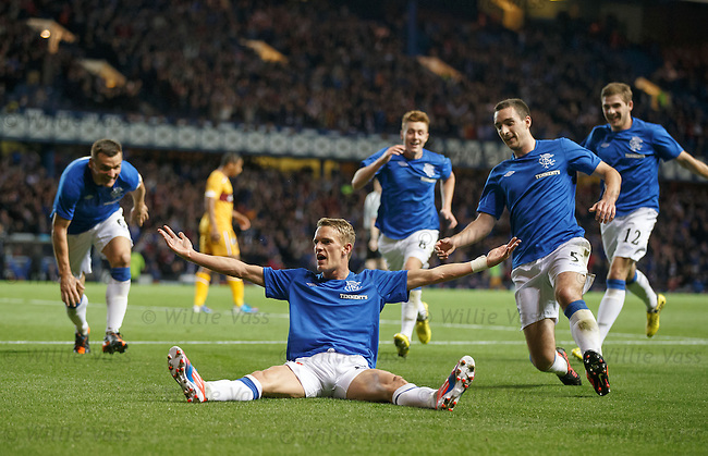 Dean Shiels celebrates after scoring the second goal for Rangers against SPL side Motherwell in the League Cup