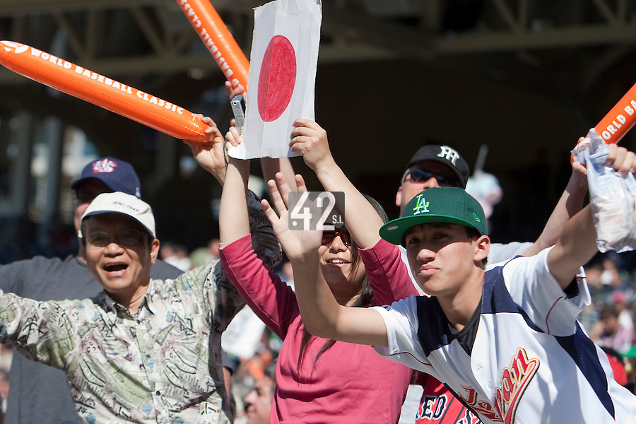 15 March 2009: Fans of Japan sheer for their team against Cuba during the 2009 World Baseball Classic Pool 1 game 1 at Petco Park in San Diego, California, USA. Japan wins 6-0 over Cuba.