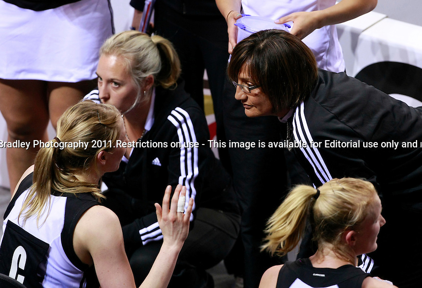 25.11.2011 New Zealand coach Waimarama Taumaunu talks with Camilla Lees during their match in the World Netball Series against England in Liverpool, England. Mandatory Photo Credit (Pic: Tim Hales). ©Michael Bradley Photography.