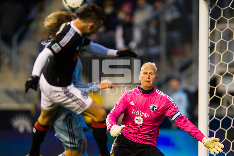 Sporting Kansas City goalkeeper Jimmy Nielsen (1) defends a header by Jack McInerney (9) of the Philadelphia Union during the second half. Sporting Kansas City defeated the Philadelphia Union 3-1 during a Major League Soccer (MLS) match at PPL Park in Chester, PA, on March 2, 2013.
