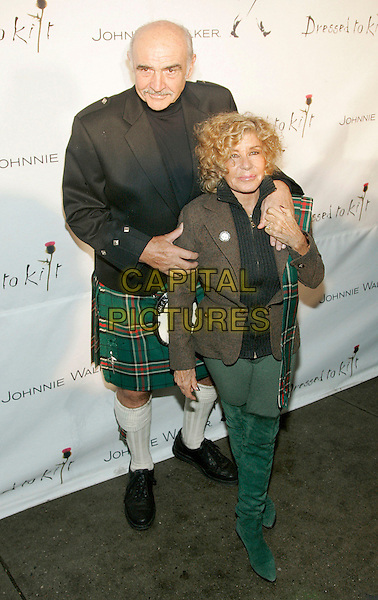 "MICHELINE & SIR SEAN CONNERY.At Friends of Scotland event ""Dressed to Kilt"" presented by Johnny Walker at Cathedral of St. John The Devine, New York, NY, USA..April 3rd, 2006.Photo: Jackson Lee/Admedia/Capital Pictures.Ref: JL/ADM.full length kilt wife husband married brown jacket black green boots.www.capitalpictures.com.sales@capitalpictures.com.© Capital Pictures."