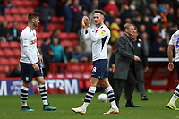 Alan Browne of Preston North End thanks the Alex Neil Manager of Preston North End fans at full time during Charlton Athletic vs Preston North End, Sky Bet EFL Championship Football at The Valley on 3rd November 2019