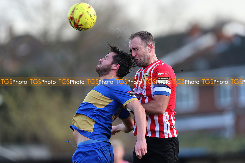 Elliot Styles of Hornchurch rises with Chris Taylor of Romford during AFC Hornchurch vs Romford, Ryman League Division 1 North Football at Hornchurch Stadium on 4th February 2017