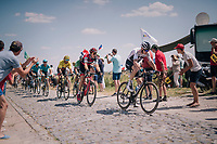 Chris Froome (GBR/SKY) at the end of pav&eacute; sector #9 followed closely by Team BMC of yellow jersey Greg Van Avermaet (BEL/BMC)<br /> <br /> Stage 9: Arras Citadelle &gt; Roubaix (154km)<br /> <br /> 105th Tour de France 2018<br /> &copy;kramon